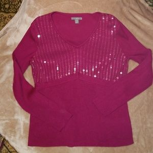 V-neck sequin sweater